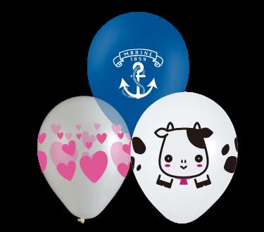 Printed rubber balloons, balloons